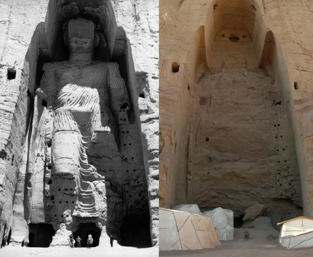 """Taller Buddha of Bamiyan before and after destruction"" by Buddha_Bamiyan_1963.jpg: UNESCO/A Lezine; Original uploader was Tsui at de.wikipedia.Later version(s) were uploaded by Liberal Freemason at de.wikipedia.Buddhas_of_Bamiyan4.jpg: Carl Montgomeryderivative work: Zaccarias (talk) - Buddha_Bamiyan_1963.jpgBuddhas_of_Bamiyan4.jpg. Licensed under CC BY-SA 3.0 via Wikimedia Commons - https://commons.wikimedia.org/wiki/File:Taller_Buddha_of_Bamiyan_before_and_after_destruction.jpg#/media/File:Taller_Buddha_of_Bamiyan_before_and_after_destruction.jpg"
