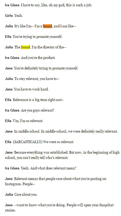 teenage girls as brand