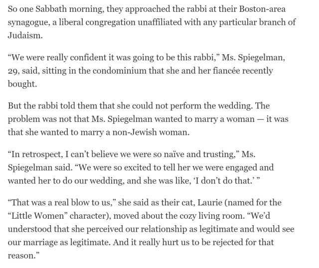 same sex couple has trouble finding a rabbi