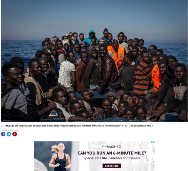 juxtaposition with ad on boat people