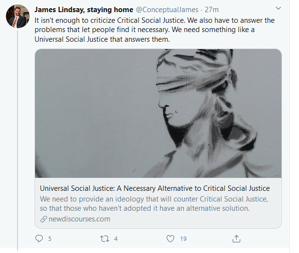 james lindsay need universal social justice tweet